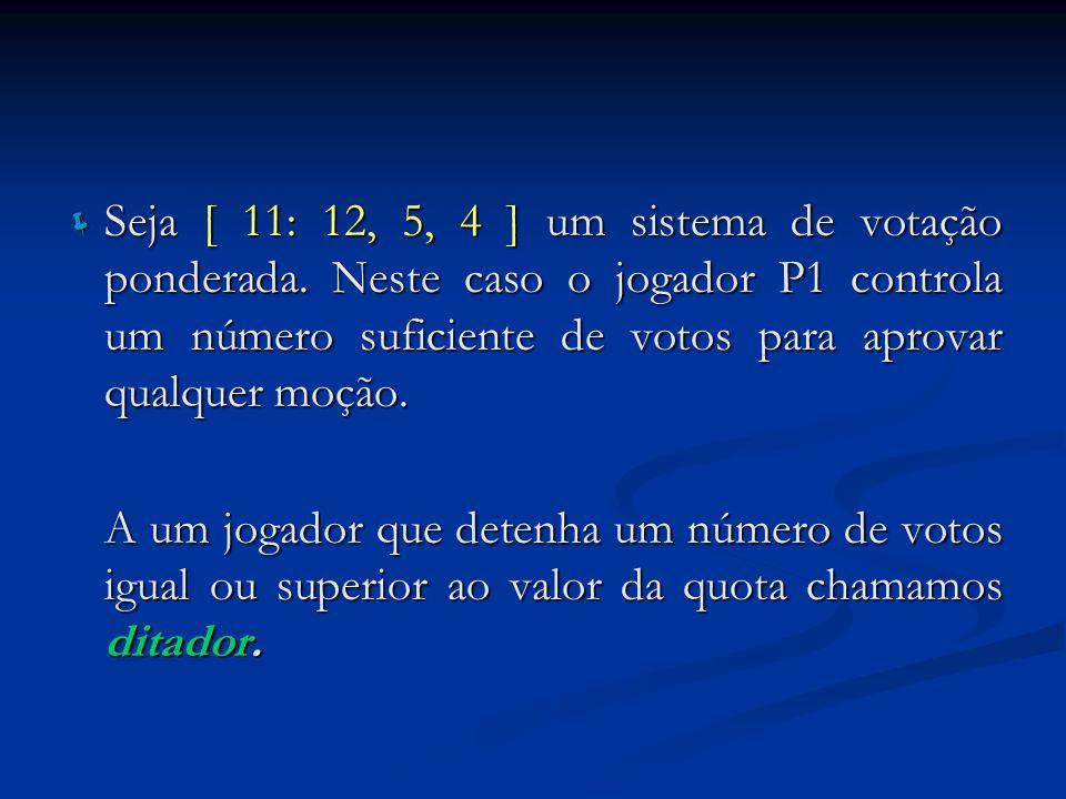 Seja [ 11: 12, 5, 4 ] um sistema de votação ponderada